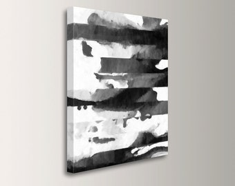 "Modern Abstract Painting - Canvas Print - Black,White & Grey - Large, Oversized Wall Art - Acrylic Painting Print - Modern Art - ""Quadrant"""