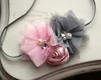 Grey and Pink headband, grey headbands, newborn headbands, flower headbands, photography prop