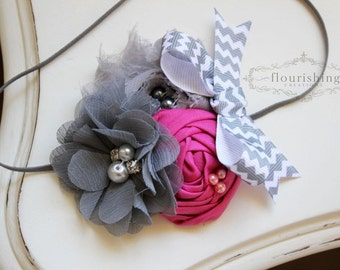 Pink and Grey Chevron headband, grey flower headbands, chevron headbands, baby headbands, newborn headbands, photography prop