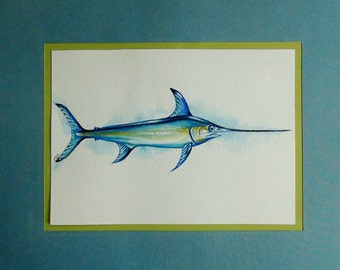 Swordfish - Original Watercolor Painting - Framed