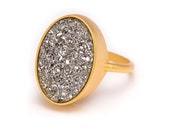 Silver Druzy Ring - Gold Ring - Druzy in Gold Ring - Druzy / Drusy Quartz - Available in Sizes 5, 6, 7 and 8