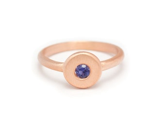 Floating Gemstone Ring - Rose Gold Ring - Iolite - Available in sizes 4.5, 5, 5.5, 6, 6.5, 7, 7.5, 8, 8.5, 9, 9.5 and 10