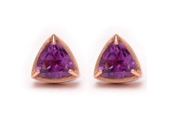 Trillion Cut Studs - Rose Gold Stud Earrings - Amethyst Studs - Gemstone Stud Earrings - Prong Set Studs with Bezel Rim