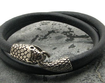EXPRESS SHIPPING Snake bracelet Men's Bracelet. Men Leather Bracelet Black multi strad Men leather bracelet with silver plated snake clasp