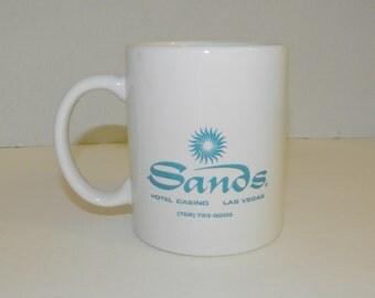 SANDS HOTEL Las Vegas White w Aqua Coffee Mug