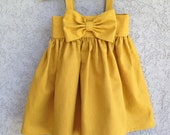 Custom listing for Pinkjet Big Bow Dress, Mustard Yellow baby dress