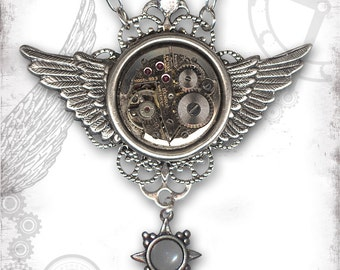 Winged Time Steampunk Necklace - The Mystic Seeker Collection by Za Dee Da - Time Flies