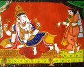 Diwali gift Tanjore painting Ganesha art large Ganesha painting Unique Ganesha painting Indian god painting dancing Ganesh painting