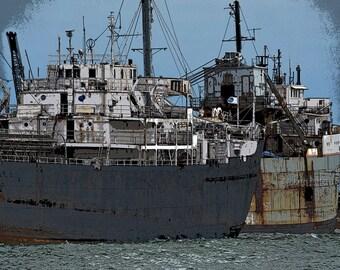 Ship Photos, Welland Canal Photos, Photos of Port Colborne, Travel Photography, Nautical Photography, Industrial Chic, Ship Wrecking Yard