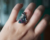 Howling Wolf Ring  | Shrink Plastic | Wearable Art | Gift Under 10