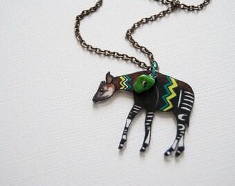 Okapi Necklace / African Animal  / Chevron Animal / Chevron Necklace  / Tribal  / Chartreuse / Shrink Plastic Jewelry