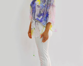Maxi tunic/XXL Silk chiffon top/Hand painted tunic/Oversized Coverup/Silk blouse/Painting  Summer top/White yellow chiffon beach top/T0166