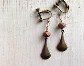 Brass Metal Drop with Matte Bronze Clip on Earrings, Dangle Clip Earring, screw back clip on