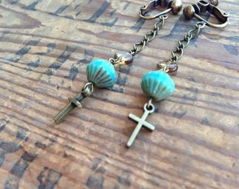 Turquoise and Cross Clip On Earrings, Dangle Clip Earring, Long Chain Ear Clips, Boho Chic, Girls Clip On