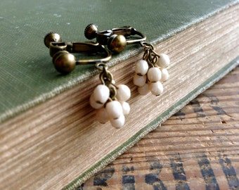 Clip-On, Cream White Cluster, Dangle Clip On Earrings, Screw Back Clip Earring, Antique Brass, Cute Earrings, Girls Clip On