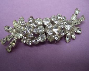 Brilliant Diamante Crystal Duette Style Brooch  c 1960