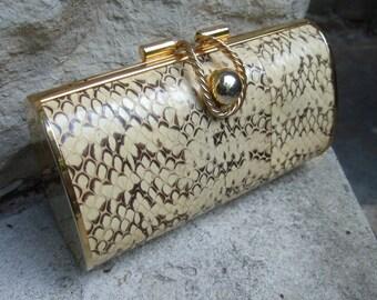 Exotic Snakeskin Sleek Gilt Trim Evening Bag
