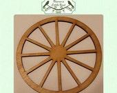 Wagon Wheel  -  (Large ) Wood Cut Out -  Laser Cut