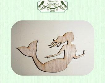 Mermaid (Small) Wood Cut Out -  Laser Cut