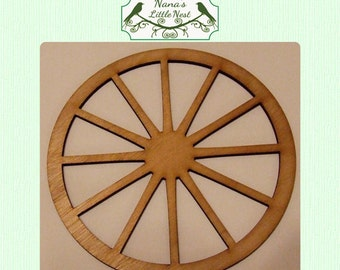 Wagon Wheel  -  (Large ) Wood Cut Out -  Laser Cut