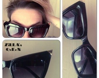 Oversized Retro Cat Eye Wing Tip Frames Sunglasses in Black & Gold at ZILLAS QUEEN
