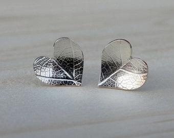Leaf Imprinted Silver Heart Stud Earrings - Sterling Silver