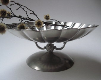 Vintage Insico Pewter Scalloped Candy Dish
