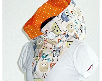 Hooded Scarf - Owls with dots