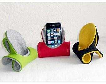 WOOL FELT mobile phone holder, phone seat, charging station