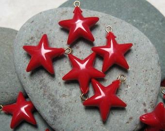 Vintage 12mm Red Plastic Star Drops with Loop.  2 dz.
