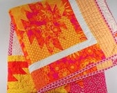 Patchwork Quilt, Full Size, Orange, Yellow, Pink, Bright, Hello Sunshine