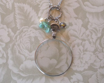 Vintage Optical Lens Necklace with Beads