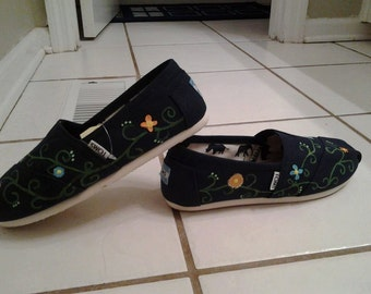 TOMS custom painted Vines and Flowers shoes