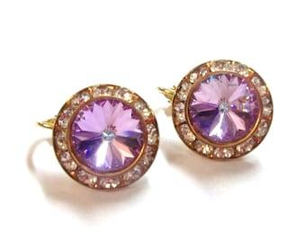 Lavender Rivoli Rhinestone Clip On Earrings Purple Orchid Lilac Rivoli Stone Pastel Purple Wedding Bridal Jewelry DD 322