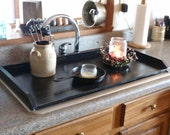 Primitive Kitchen, Tray, Black Sink Cover, Country Kitchen Tray, Wooden Tray, Stove Top Cover,  Noodle Board, Stove Top Cover, Space Saver