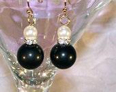 Black Onyx and Pearl Dangle Earrings