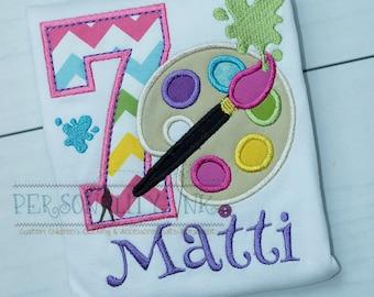 Paint Party - Art party - Create - Girls birthday shirt - Boys paint shirt