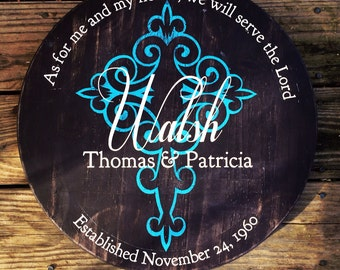 Personalized family name sign. Wedding established sign. Family plaque