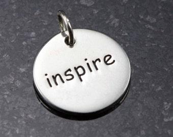 Sterling Inspire Charm - 12mm Diameter - Inspire Pendant