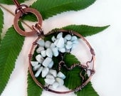 Tree of Life pendant necklace copper blue stones washer jewelry