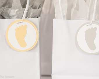 Baby Shower Decoration Footprint Tags Yellow Grey Gender Neutral