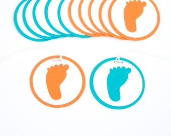 Modern Party Favor Tag - Footprint Baby Shower - Orange and Turquoise - Set of 12