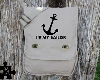 I Heart My Sailor - Navy Support - Military Style Canvas Messenger Bag - Laptop Bag - iPad Bag - Diaper Bag - School Bag