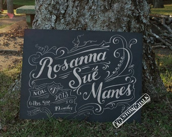 Personalized birth announcement sign - birth notice signage - baby announcement sign
