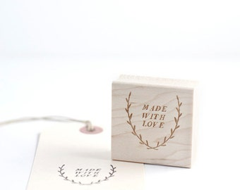 Made with love handrawn wreath rubberstamp, DIY holiday
