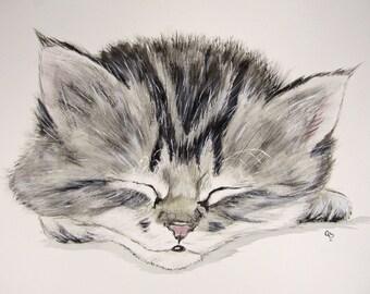 Gray Tabby Kitten original watercolor painting