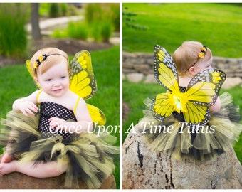 Yellow Monarch Tutu Dress - Newborn Baby 3 6 9 12 18 24 Months 3T 4T 5 6 ..  Yellow & Black Monarch Butterfly Halloween Costume