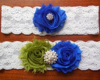 Blue Garter/ Wedding Garter / Garter / Lace Garter / Green Garter / Royal Blue Garter / Blue and Olive Garter / Something Blue / Lace Garter