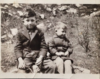 Original Antique Photograph Brothers Smile on Mountainside