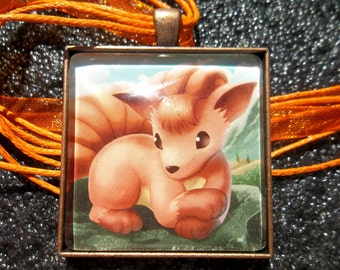 1.5 inch Diameter Vulpix - Patiently Waiting - Glass Pendant Charm made from Trading Cards